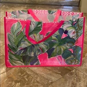 NWOT Lilly Pulitzer Large Vinyl Shopping Tote Bag